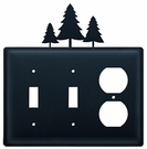 Double Switch & Outlet Cover, Pine Trees, Wrought Iron