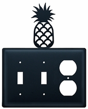 Double Switch & Outlet Cover, Pineapple, Wrought Iron