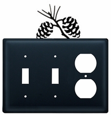 Double Switch & Outlet Cover, Pinecones, Wrought Iron