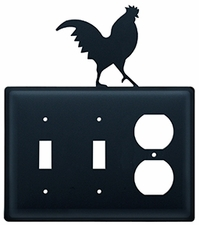 Double Switch & Outlet Cover, Rooster, Wrought Iron