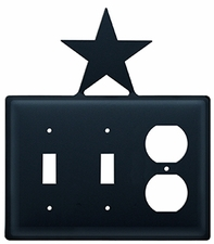 Double Switch & Outlet Cover, Star, Wrought Iron