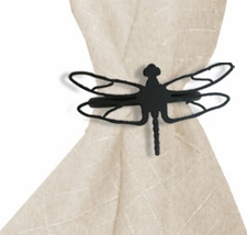 Napkin Ring, Wrought Iron, Dragonfly, Set of 4