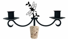 Dragonfly - Wrought Iron Wine Bottle Topper - Candelabra