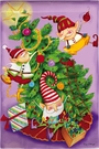 Garden Flag, Christmas, Elf Tree Trimmers