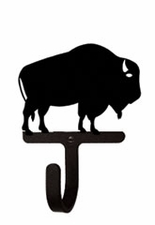 Wall Hook, Buffalo, Wrought Iron, Extra Small, Decorative