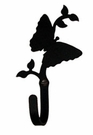 Wall Hook, Butterfly, Wrought Iron, Extra Small, Decorative