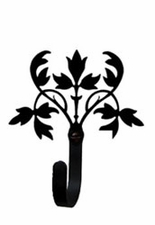 Wall Hook, Floral, Wrought Iron, Extra Small, Decorative