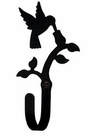 Wall Hook, Hummingbird, Wrought Iron, Extra Small, Decorative