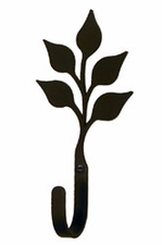 Wall Hook, Leaf, Wrought Iron, Extra Small, Decorative
