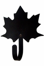 Wall Hook, Maple Leaf, Wrought Iron, Extra Small, Decorative