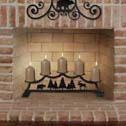 FIREPLACE CANDLE HOLDERS, WROUGHT IRON