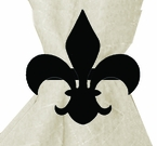 Napkin Ring, Wrought Iron, Fleur-De-Lis, Set of 4