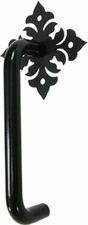 Cabinet Door Handle, Vertical, Floral, Wrought Iron
