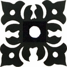 Silhouette for Cabinet Door, Floral, Black Wrought Iron