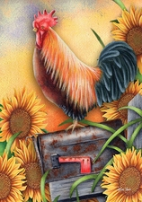 Garden Flag, Americana, Country, Rooster, Good Morning