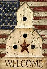 Garden Flag, Americana, Patriotic Birdhouse, Welcome, American Flag