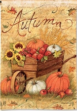 Garden Flag, Autumn Cart, Pumpkins, Sunflowers, Apples, Fall Leaves