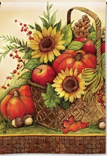 Garden Flag, Autumn, Fall Basket, Sunflowers, Pumpkins