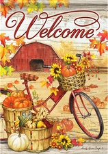 Garden Flag, Autumn Welcome, Fall, Beautiful Bicycle