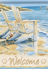 Garden Flag, Beach, Adirondack Chairs, Quiet Moments, Welcome