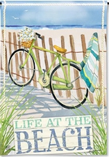 Garden Flag, Beach Trail, Bicycle, Daisies, Spring, Summer