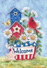 Garden Flag, Birdhouse, Patriotic Blooms, Welcome, Cardinal, Spring / Summer