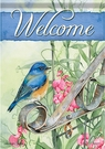Garden Flag, Birds, Bluebird on Garden Gate, Welcome