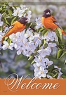 Garden Flag, Birds, Orioles in the Orchard, Flowers, Welcome
