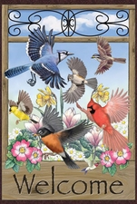 Garden Flag, Birds, Welcome, Blue Jay, Cardinal, Finch, Chickadee