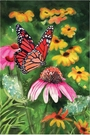 Garden Flag, Cone Flowers, Monarch Butterfly, Floral, Spring / Summer