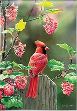 Garden Flag, Cardinal on Post, Birds, Flowers, Spring / Summer