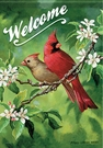 Garden Flag, Cardinals, Birds, Lady & Red, Welcome, Double Sided