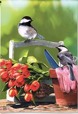Garden Flag, Chickadee Rest Stop, Birds, Spring, Summer