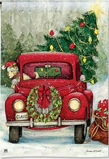 Garden Flag, Christmas, Red Truck, Americana, Bringing Home the Tree