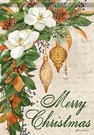 Garden Flag, Christmas, Holiday, Magnolias, Merry Christmas, Ornaments