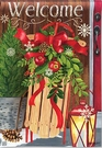 Garden Flag, Christmas, Holiday, Mountain Cabin Sled