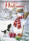 Garden Flag, Christmas, Holiday, Snowman and Puppy, Presents