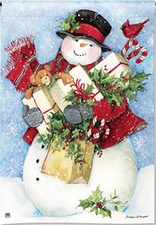 Garden Flag, Christmas, Snowman, Bearing Gifts