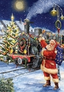 Garden Flag, Christmas Train, Santa, Toys, Tree