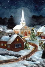 Garden Flag, Christmas Village, Winter Church, Holiday Trees