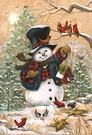 Garden Flag, Christmas, Snowman, Winter Friends, Cardinals, Chickadees, Birds