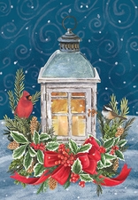 Garden Flag, Christmas, Winter Lantern, Holly, Pinecones, Cardinal, Chickadee
