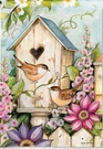Garden Flag, Cottage Birdhouse, Chickadee, Birds, Spring / Summer