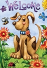 Garden Flag, Dog, Puppy, Welcome, Flowers, Butterflies, Ladybug, Bee