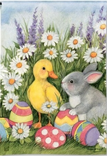 Garden Flag, Easter Babies, Bunny, Chick, Eggs and Daisies