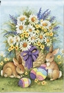Garden Flag, Spring, Easter Bunnies, Eggs, Daisies, Flowers
