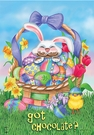 Garden Flag, Easter Bunny & Basket, Chick, Eggs, Flowers, Got Chocolate?