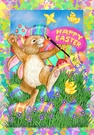 Garden Flag, Easter, Eggs, Painter Bunny