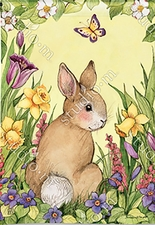 Garden Flag, Easter, Springtime Bunny, Butterfly, Flowers, Floral