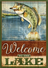 Garden Flag, Fish, Fishing, Bass, Welcome to the Lake, Double Sided